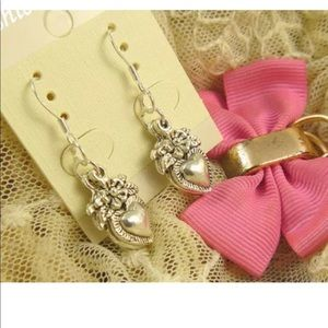 Jewelry - NEW Earrings 925 Heart Flower Hook Ear Rings